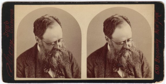 Stereo photographs of Wilkie Collins (1824-1889) in 1874, aged 50, by Napoleon Sarony (1821-1896).