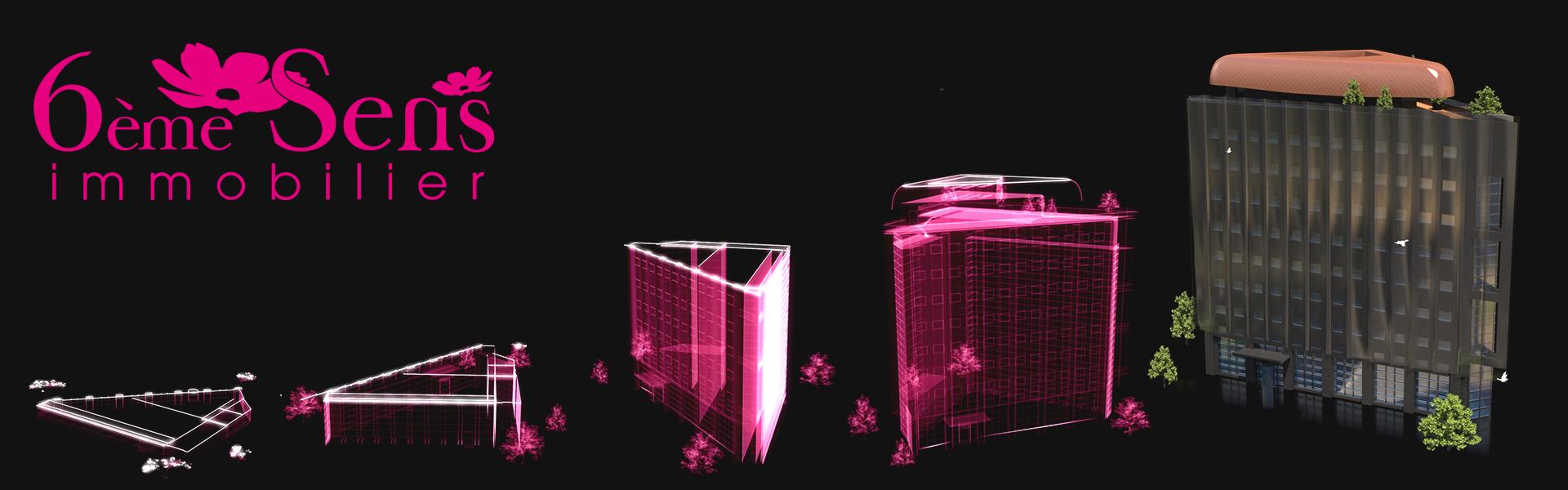 Banderole de : Hologramme d'un bâtiment – 6ème Sens Immobilier