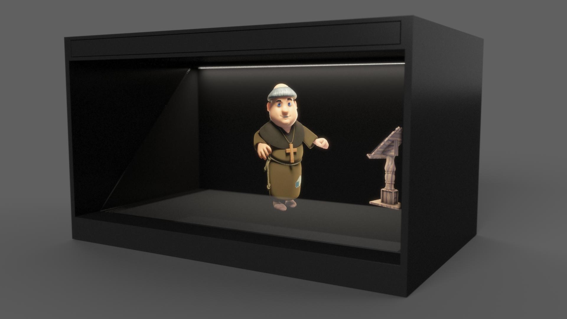 hologramme vitrine d'un moine
