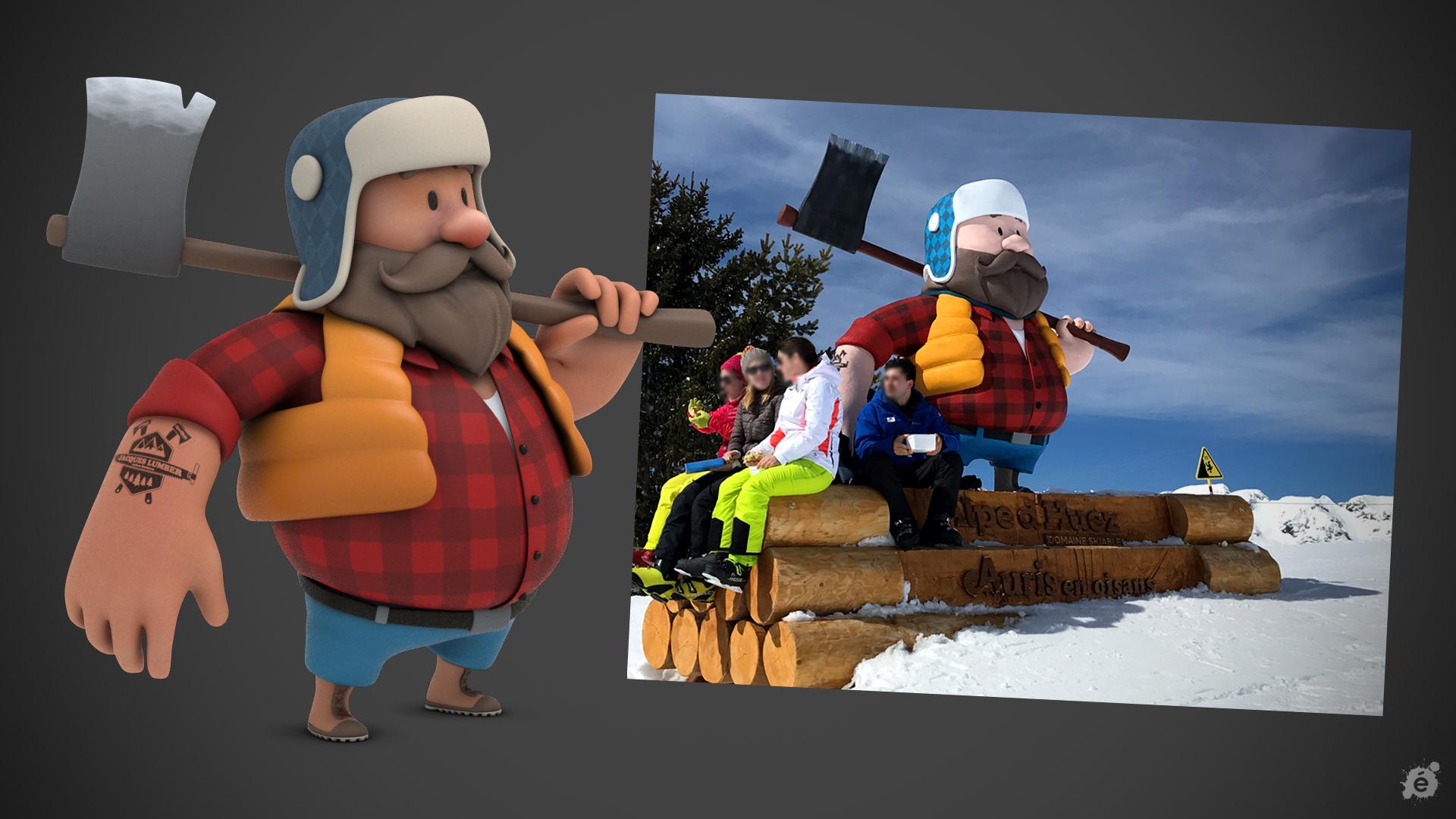 utilisation d'un personnage 3D dans la création d'une sculpture