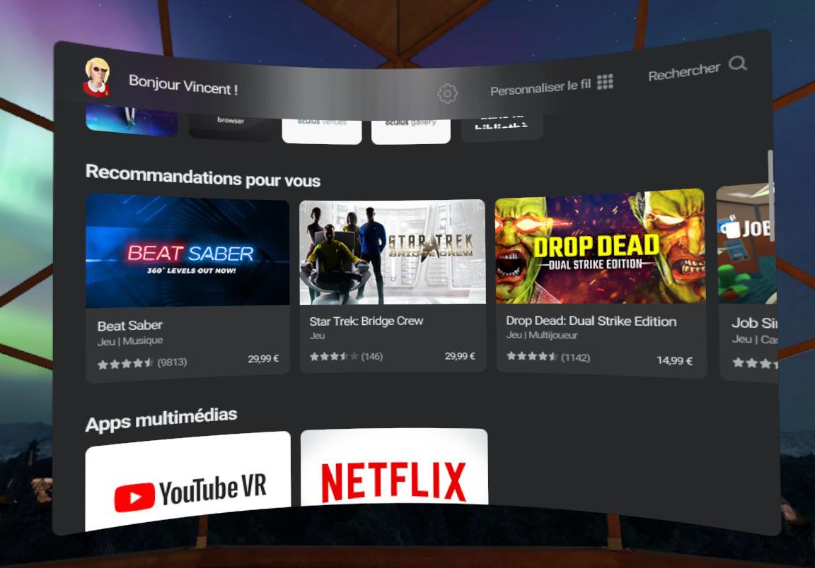 Oculus Store Réalité virtuelle