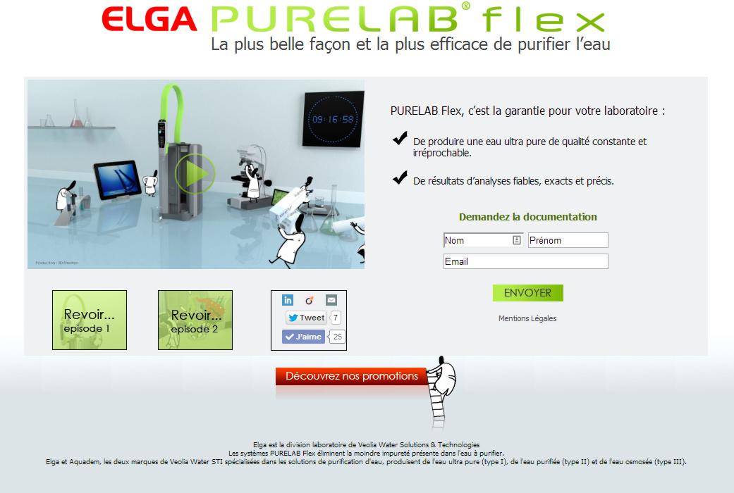 Création d'écran site internet pour PureLab Flex