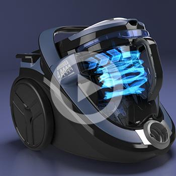 Présentation d'un aspirateur en image de synthèse – Rowenta