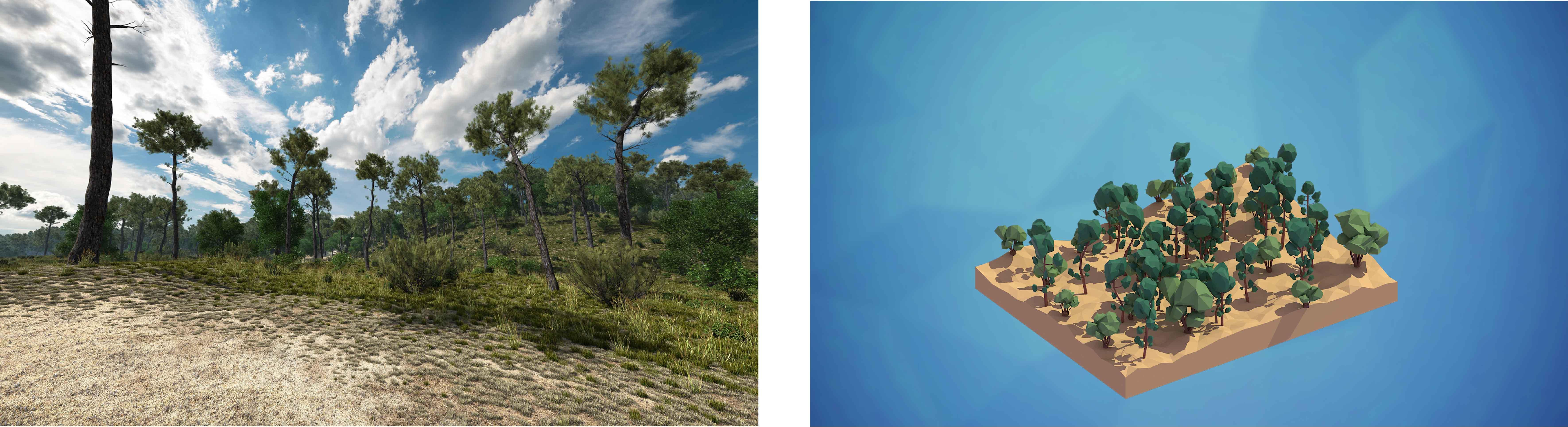 deux images pour montrer les différents approches graphiques en visualisation scientifique